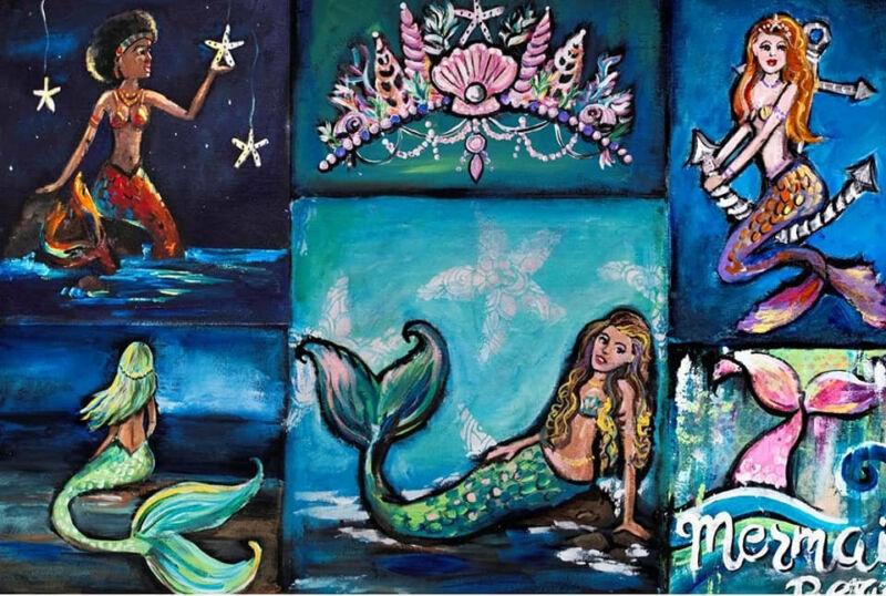 "Mermaid Beach 18lb Decoupage by Roycycled Treasures! 20""x 30"" One sheet"