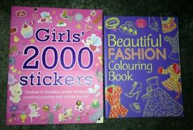 Girls Activity Books x 2. Girls 2000 Stickers and Fashion Colouring Book