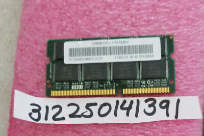 DELL 256MB 32X64 PC100 SDRAM  SODIMM 144PIN ORIGINAL DELL MEMORY 58JEV NON-ECC