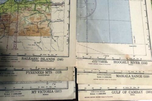 Lot of 6 Vintage World Aeronautical WWII Chart Maps Some Restricted