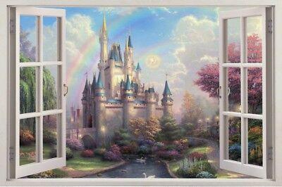 s74  Wandtattoo 120 cm prinzessin Schloß Fenster STICKER 3D Wandaufkleber  (Wandtattoo Prinzessin Schloss)