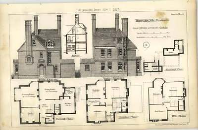 1878 Selected Design For Villa Residence Elevations Plans,