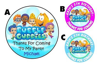 BUBBLE GUPPIES BIRTHDAY PERSONALIZED ROUND PARTY STICKERS FAVORS ~ VARIOUS SIZES](Bubble Guppies Birthday)