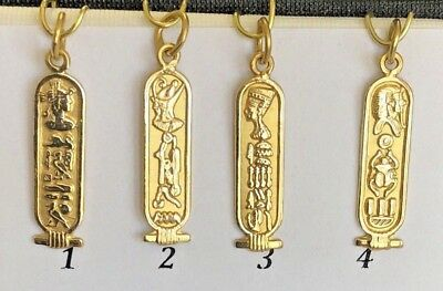 18K Solid Gold Egyptian charms cartouche Isis Tut Nefertiti Cleopatra Solid