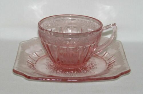 Jeannette Glass Co. ADAM Pink Cup and Saucer Set