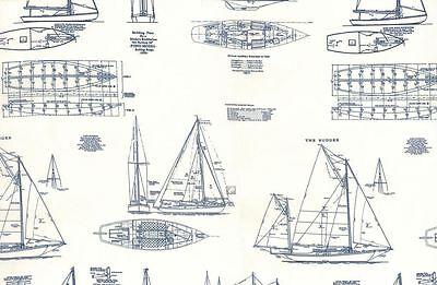 MO117 Sailing Yacht Sailboat Sail Boat Blueprint Drawing Cotton Quilt Fabric