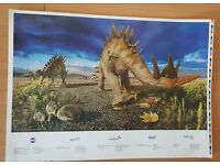 Dinosaur picture. Poster size printed on card, embossed with gold foiling.