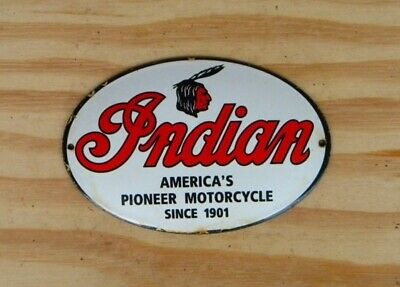 VINTAGE INDIAN PORCELAIN SIGN MOTORCYCLE OIL CHIEF TAIN ROADMASTER SCOUT FTR V2