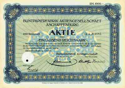 Buntpapierfabrik AG 1929 Aschaffenburg Main August Osterrieth Frankfurt 1000 RM
