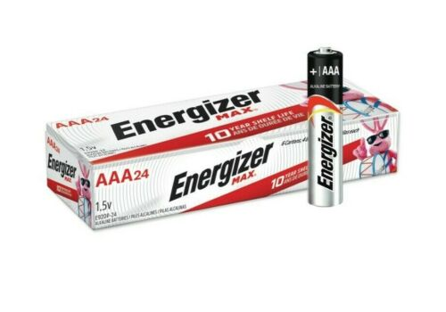 Energizer Max E92-VP AAA 1.5V Alkaline Button Top Batteries-24 pack 12/2029 Exp.
