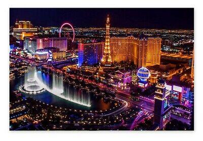 Vegas View Poster Art Led City Ligths Room Decor Las Vegas Party Night Lights - Las Vegas Decor