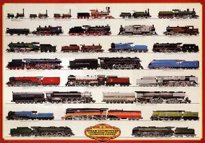 Train Steam Locomotives Poster Print, 38.5x27