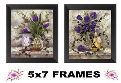 💗 5x7 Lavender Bathroom Pictures Purple Floral Flowers Bed Bath Wall Hangings