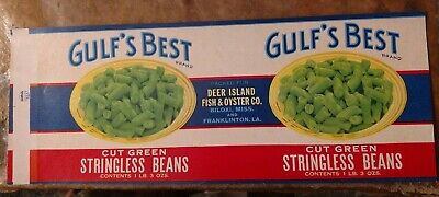 GULFS BEST Cut Green Beans can LABEL File Copy 1940's Biloxi MS Franklinton