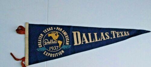 "Vintage 1937 Greater Texas & Pan American Expo Felt Pennant 25"" Dallas Texas"