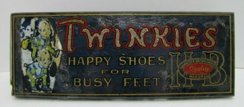 TWINKIES HAPPY SHOES BUSY FEET HAMILTON BROWN SHOE CO REVERSE GLASS SIGN *NOAG