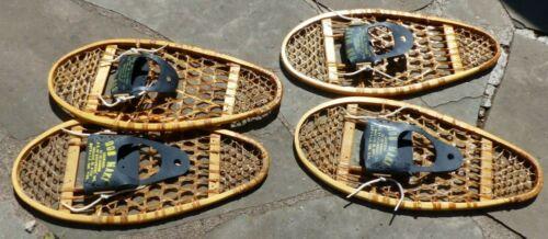"2 Pair Bear Paw Style Wooden Snowshoes 13"" x 29"" Canada Bob Maki Bindings Cabela"