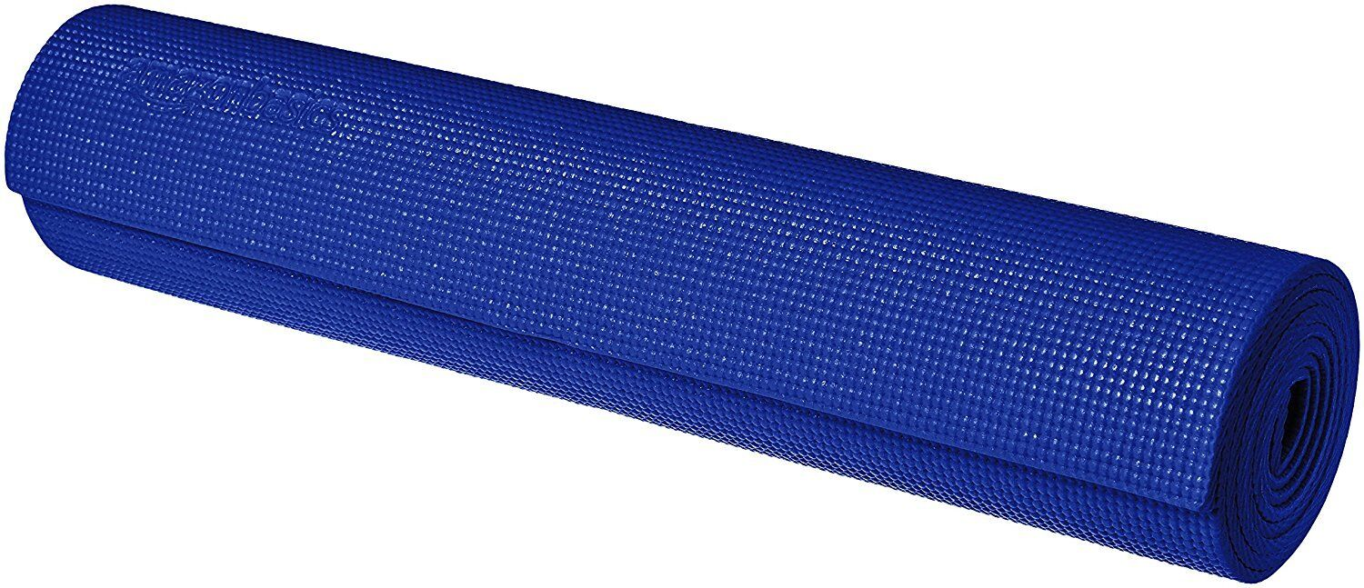 "Amazon Basics 1/4 "" Yoga Exercise Mat w/ Carrying Strap   Bl"