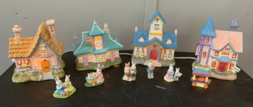 10-Piece Lighted Easter Bunny Village w/Toy Shop, Church, Station House, Bakery