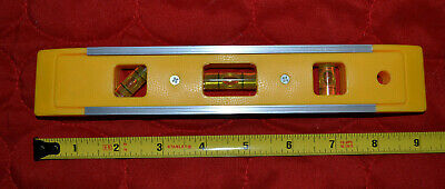 Magnetic Torpedo Level 9 - Yellow - 3 Bubble Vials - Hanging Hole 244-3697