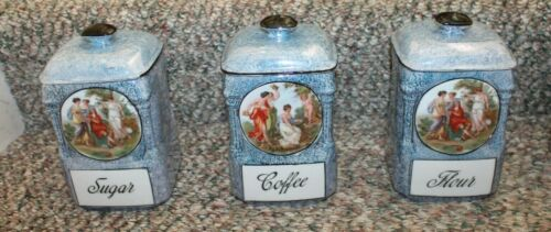 13-Piece Victorian Blue Spice Holder China Canisters Lusterware - Local Pickup