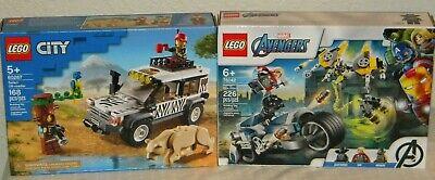 2 LEGO Marvel Avengers Speeder Bike Attack 76142 & City Safari Off-Roader 60267