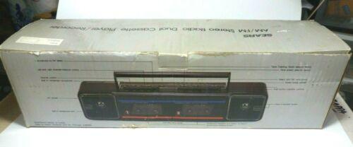 Vintage Sears Am/Fm Stereo Radio Dual Cassette Player Recorder SR 2000 Series.
