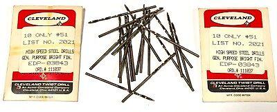 20 Cleveland Twist No.51 Drill Bits General Purpose Jobber Drills Hss Usa Made