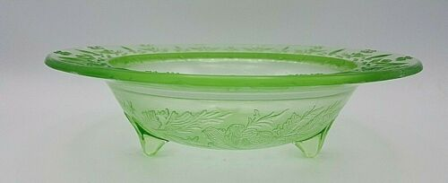 """Depression Glass 3-Toed Footed Bowl Rose & Thorn Green US Glass UV 11"""" Bruised"""