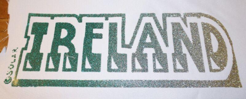 """Vintage  Rare """" IRELAND  Iron-On Transfer   GLITTER"""