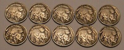 Ten Full Date Buffalo Nickels with Ten Different Dates!