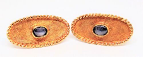 14K, Yellow Gold, Vintage, Cuff Links, Accented With Gray Star Sapphires.