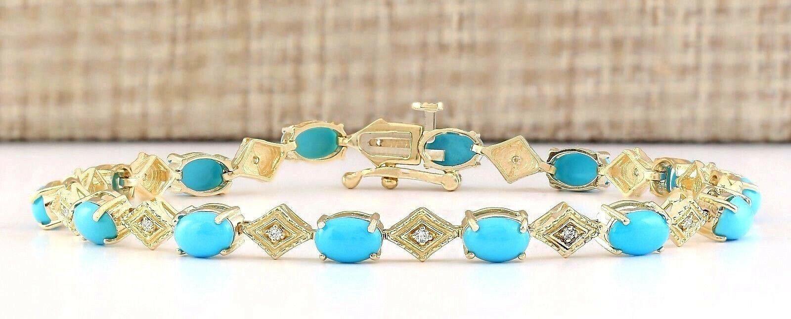 6.31 Carat Natural Turquoise 14K Yellow Gold Diamond Bracelet