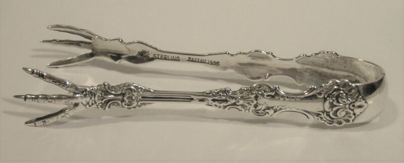 """Antique Whiting Pompadour Sterling Silver Sugar Tongs 4"""" FREE SHIP!"""