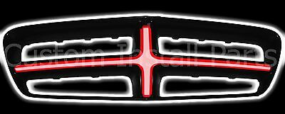 LED Glow Red Cross Hair Insert Replace Factory Front Grille Fits Dodge Charger