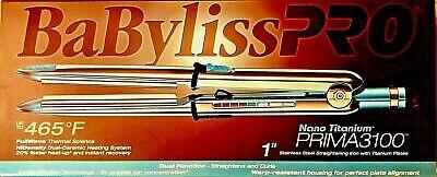 "BaByliss PRO Nano Titanium PRIMA 3100 1"" Stainless  Straightening/Curling Iron comprar usado  Enviando para Brazil"