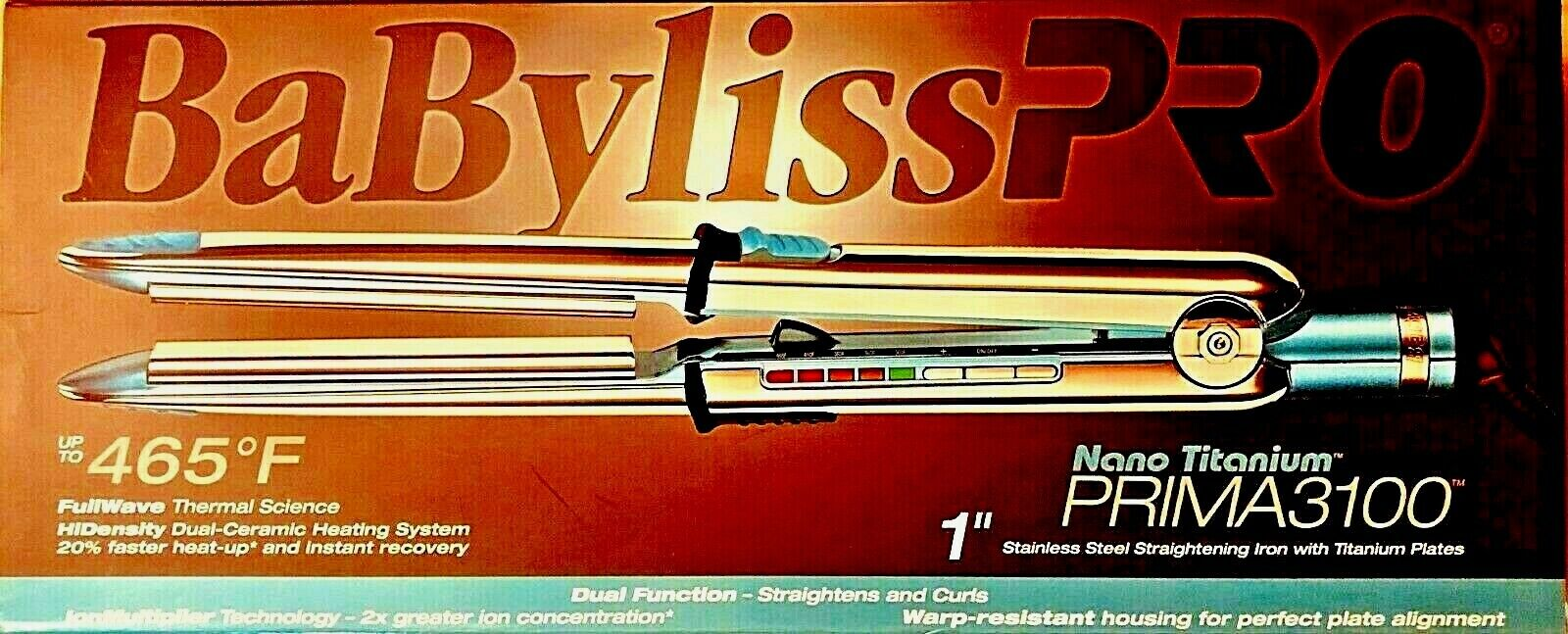 "BaByliss PRO Nano Titanium PRIMA3100T   1"" Stainless Steel"