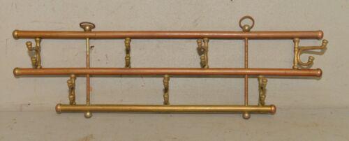 Vintage Brass & copper wall mount hat coat rack swivel hook train diner