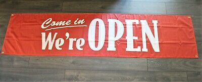 New Come In Were Now Open Banner Sign Flag Big 2x8 Feet Store Restaurant Bar