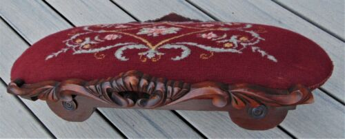 ANTIQUE NEEDLEPOINT/ WOODEN FOOT STOOL ~ 1800