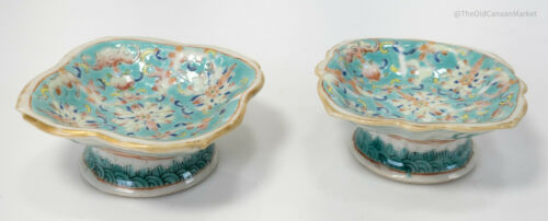 Antique Chinese Famille Rose Pedestal Salt Dish Straits Reign Mark Nonya Bats