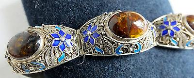 Armband Silber filigran emailliert mit Jaspis China? 53,6g