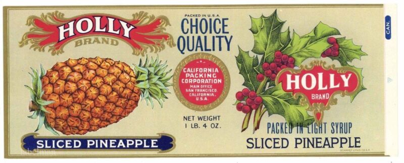 HOLLY Brand, Sliced Pineaple, *AN ORIGINAL 1920's TIN CAN LABEL*  J02