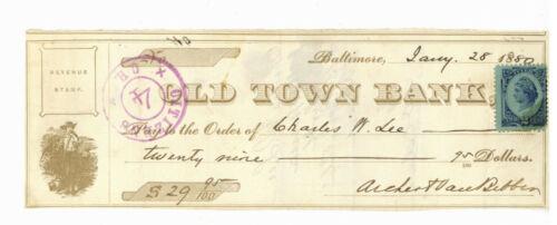 Old Town Bank Baltimore. Check. 1880