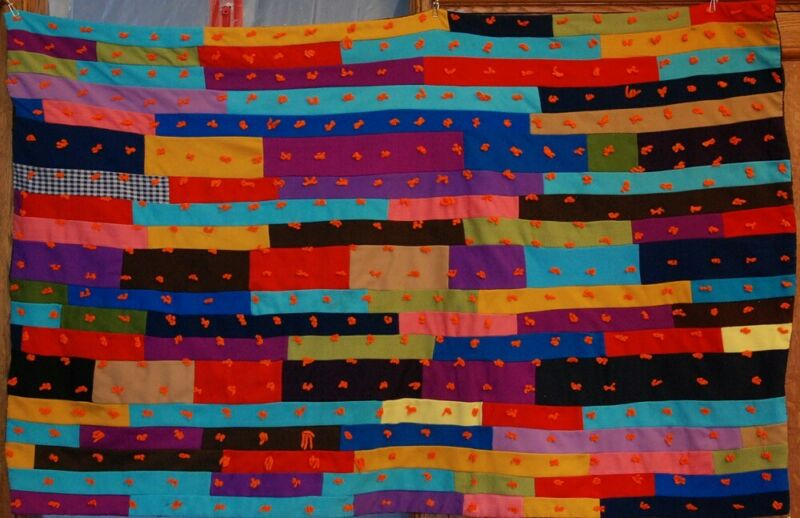 REDUCED ~  VINTAGE FOLK OUTSIDER ART TIED QUILT ~ AFRICAN AMERICAN? ANTIQUE