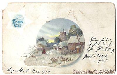 POSTCARD 1900 Czech German winter village scene made with sand? salt? glitter?