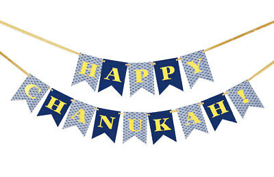 Happy Chanukah Flag Banner - Jewish Holiday Gift - Hanukkah Chanukkah - Happy Hanukkah Banner