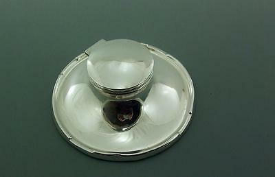6 INCH DIA LARGE SOLID STERLING SILVER CAPSTAN INKWELL 1937 NO ENG