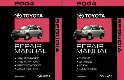 2004 Toyota Sequoia Shop Service Repair Manual Book Engine Drivetrain OEM