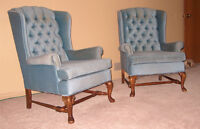 2 blue upholstered chairs